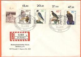 GERMANIA - GERMANY - Deutschland - ALLEMAGNE - 1973 - 10 Dresden + 4 Uccelli Rapaci, Birds Of Prey + Special Cancel Kreu - [7] République Fédérale