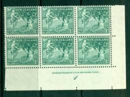 New Zealand 1956 2d Health Apple Tree Green Imprint Plate Block 6 MH/MUH Lot25799 - Nueva Zelanda