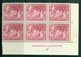 New Zealand 1956 3d Health Apple Tree Old Rose Imprint Plate Block 6 MH/MUH Lot25794 - Ungebraucht