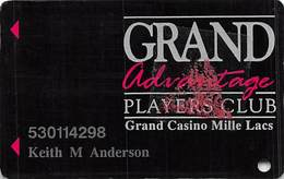 Grand Casino Mille Lacs - Slot Card - With DLR CP On Reverse & Pink Triangle Sticker On Front - Casino Cards