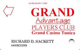 Grand Casino Tunica MS - Temporary Slot Card - Casinokarten