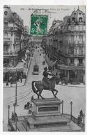 ORLEANS EN 1910 - N° 816 - JEANNE D' ARC PAR FOYATIER - RUE DE LA REPUBLIQUE ANIMEE - CPA VOYAGEE - Orleans
