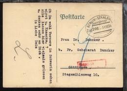 BERLIN-STRALSUND Zug 208 14.10.34 Auf Unfrankierter PK Mit Nachgebühr - Deutschland