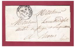 FRANCE --MONT DE MARSAN -- LETTRE POUR BROCAS -- CORRESPONDANCE LOCALE -- PORT DÛ 1 DECIME --1844 -- - Storia Postale