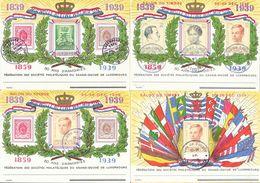 Luxembourg - Salon Du Timbre, 80 Ans D'Armoiries 1839 1859 1939 - Lot 4 Cartes Sociétés Philatéliques - Luxemburgo