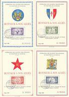 Luxembourg - Honneur à Nos Alliés (France, Britania, América, C.C.C.P. - Lot 4 Cartes Sociétés Philatéliques 1944 - 1940-1944 Duitse Bezetting