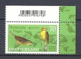 Deutschland / Germany / Allemagne 2019 3463 ** Cept Europa Goldammer (02.05.19) - Ungebraucht