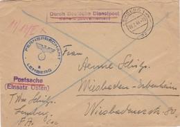 GG: Postsache Fernsprechamt Lemberg Nach Wiesbaden, Einsatz Osten - Postschutz - Besetzungen 1938-45