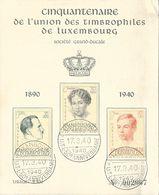 Luxembourg - Cinquantenaire De L'Union Des Timbrophiles 1890 1940 - Société Grand Ducale, 3 Timbres - Luxembourg