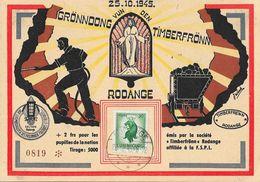 Luxembourg - Lion 30c - Carte 25-10-1945 - Rodange: Gröndong Vun Den Timberfrönn (Mines) - 1945 Heraldic Lion