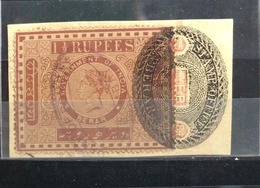 Berar India Feaudatory State QV 11/2Rupees Court Fee Fiscal Revenue Used On Piece - Unclassified