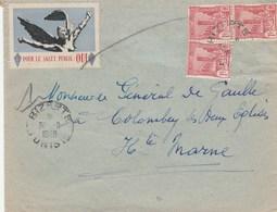 VIGNETTE OUI POUR LE SALUT PUBLIC SUR ENVELOPPE BIZERTE 30/9/48 POUR GENERAL DE GAULLE COLOMBEY LES DEUX EGLISES - De Gaulle (Général)