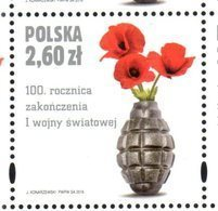 POLAND, 2018, MNH, WWI, 100 YEARS SINCE END OF WWI,GRENADES,1v - WW1