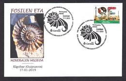 16.- SPAIN ESPAGNE 2018 SPECIAL POSTMARK FOSSILS AND MINERAL MUSEUM - Fossil Pervinquieria Rostrata - Arqueología