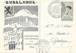 Luxembourg - Exposition Philatélique Nationale, Dudelange 1946 - Timbre Caritas 1945 20c + 30c (Maquisard) - Luxembourg