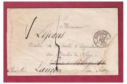 1852 --LETTRE AVEC CORRESPONDANCE DE MARSEILLE POUR LANCON B.d.R.-- FÊTE AGRICOLE D'ARLES-- - Storia Postale