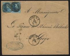 L Affr N°11A X 2 Ambulant  M VI MIDI N°6 D'Auvelais Pour Liège - 1858-1862 Medallions (9/12)