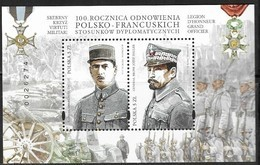 POLAND, 2019, MNH, JOINT ISSUE WITH FRANCE, DIPLOMATIC RELATIONS, WWII, DE GAULLE,  JOZEF HALLER, MILITARY, SHEETLET. - Emissions Communes