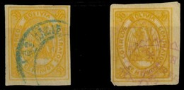 BOLIVIA. Yv 5º (x2). 50c Yellow With Blue (Customs) And Red (Notarial) Cancels. Ex Patiño.. Sale! - Bolivia