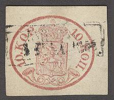 FINLAND. 1856. Yv 2º 10k Rose Large Good Margins, Wiborg Postal Cancel. VF Yv 2009 1,100 Euros.. Sale! - Finland