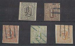 GERMAN STATES-HAMBURG. 1859. Yv 1-3, 5-6º. All Used Except 1/2s Uneven Margins, 4 And 7sh Faultless On Reverse. Opprotun - Germany