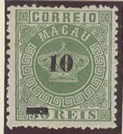 MACAU. 1885. Af 23 (x). 10r / 50rs Green Perf 12 1/2 Variey Thin Bar. Fine.. Sale! - Macao