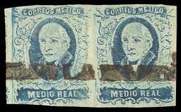 MEXICO. Sc. 1, Used (2). 1856 1/2 Rl Blue, Horizontal Pair. Very Good Margins, No District Name (Tampico). Straightline - Mexico