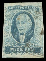 """MEXICO. Sc. 1, Used. 1856 1/2 Real Blue, Wide Setting, No District Name """"POLOTITLAN"""" (xx/RRRR), With Oval Cancel. Sch. 1 - Mexico"""