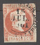 PHILIPPINES. 1858. Ed 7º 5c Rojo Carmin. Mat Baeza 15 Jul 1861 En El Centro.. Sale! - Philippines