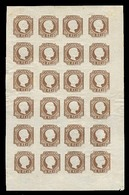 PORTUGAL. 10***/**. 1863 Reprint. The Complete Sheet Of Twenty Four Stamps (4x6) In Brown Shade, Die I, With Full Origin - Portugal