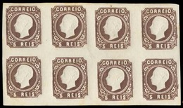 PORTUGAL. 14***. D. Luis I. 5rs Dark Brown. V. Good Large Margins All Around. Type Similar To VI With Eight Cliches, Unm - Portugal