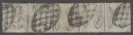 PUERTO RICO. 1876. Ed 8º (x5). 25cts Violeta Claro Sobrecargado Tira Horizontal De Cinco Con Matasellos Parrilla. Precio - Puerto Rico