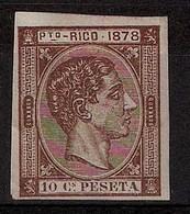 PUERTO RICO. 1878. Ed 19s(*). 10c. Castaño Rojo. SIN DENTAR. Borde Hoja Inferior. Lujo Y Gran Rareza. Ed. 06. Sello Clav - Puerto Rico
