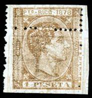 PUERTO RICO. PRUEBA. 1pta Castaño Bronce Sobre Impresión De España De 1878 Derecho Judicial 1pta 25c, Invertidos, Del Mi - Puerto Rico
