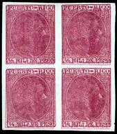 PUERTO RICO. PRUEBA. Bloque De 4 ½m.rosa Oscuro. Impresión Dobles E Invertidas S/d. Mint No Gum. Precioso. E 55x4-P.. Sa - Puerto Rico