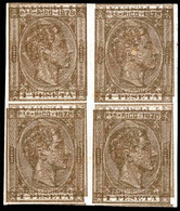 PUERTO RICO. PRUEBA. Bloque De 4 1 Pta Castaño-bronce 1878. Impresión Doble E Invertidas. S/d. Mint No Gum. Precioso. Pi - Puerto Rico