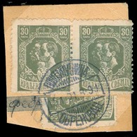 SERBIA. 1918. Yv 141º (2 + 1/2). 30p Pair + Vert Bisected, Tied Obrenovac Cds. On Registration Postal Receipt Fragment. - Serbia