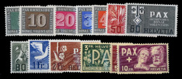 SWITZERLAND. 1945. 'Pax' Set Of 13 Values, Fresh, Lightly Hinged Set. Scarce. Scott 293-305.. Sale! - Unclassified