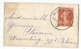 SEMEUSE 10C MIGNONNETTE SMALL COVER CACHET ALLEMAND WAGHENHEIM PFALZ 10 JUIN 1919 - Marcophilie (Lettres)