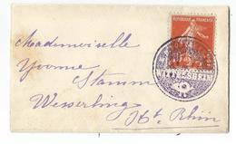SEMEUSE 10C MIGNONNETTE SMALL COVER CACHET NEGATIF VIOLET WITTELSHEIM - Marcophilie (Lettres)