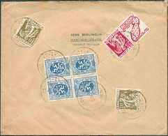 N°337(x2) (CERES) + PUB N°65 Et TB N°8 (paire) Obl. Sc HAM-sur-HEURE Au Verso D'une Enveloppe Recommandée Du 13-II-1935 - Advertising