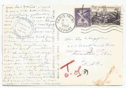 N° 916 SEUL CARTE PARIS 1952 POUR USA TAXE 3C NATO - Marcophilie (Lettres)