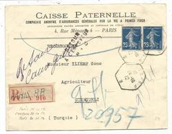 SEMEUSE 25CX2 LETTRE REC PARIS 8BB 14.10.1912 POUR TURQUIE + RETOUR ENVEOYEUR RC GUERRE BALKANS - Postmark Collection (Covers)