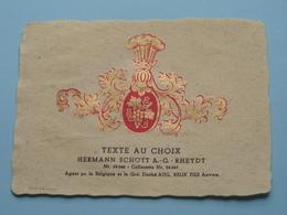 TEXTE Au CHOIX Nr.24248 > 24249 Hermann Schött RHEYDT > Aug. RELIK Anvers ( Zie/voir Foto / Format +/- 9,5 X 13 Cm. ) ! - Etiquettes