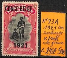 [835969]TB//*/Mh-c:245e-Congo Belge 1921 - Surchargé */mh Avec Gomme - Belgian Congo