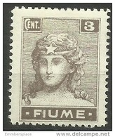 Fiume - 1919 Italia (2nd Print) 3c MH *    Mi 33   Sc 28 - Fiume