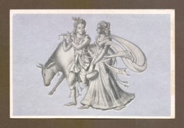 Painting Of Lord Krishna With His Consort Radha And Cow From His Herd, India, Lot # IND 193 - Religión & Creencias