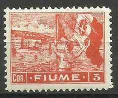 Fiume - 1919 Flag Waving 3 Cor MH *    Mi 46   Sc 41 - Fiume