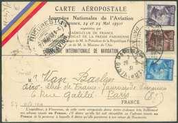 PA7-9-10 Obl. Double Ovale BUCURESI PAR AVION Sur Carte Aéropostale Du 7 Mai 1931 Vers Paris Et Retour Affr. FRANCE N°24 - Aéreo