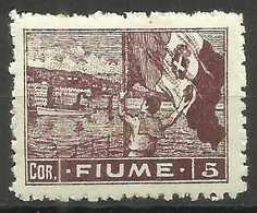 Fiume - 1919 Flag Waving 5 Cor MH *    Mi 47   Sc 42 - Fiume